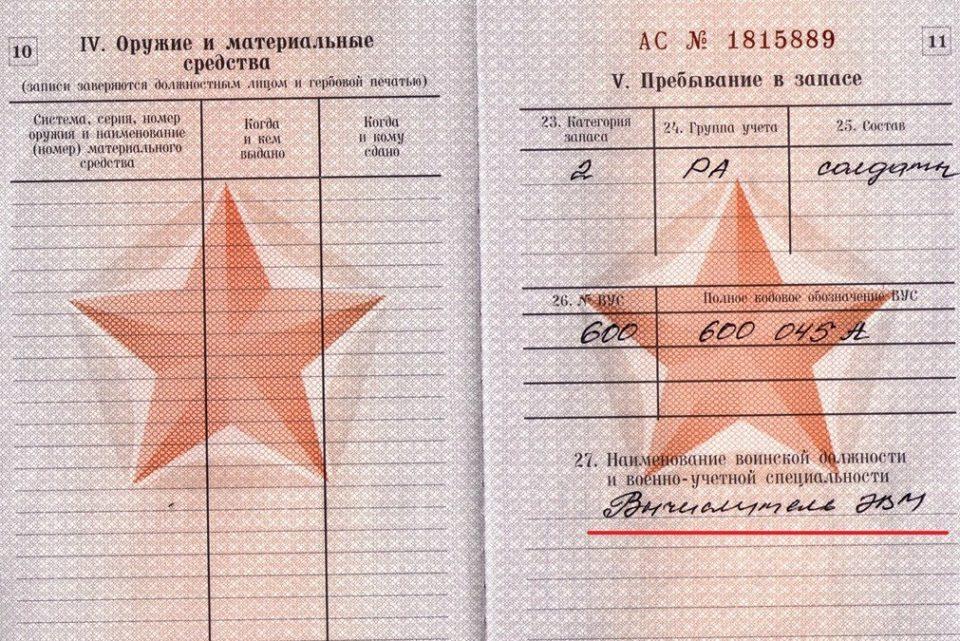 20 и 30а в военном билете расшифровка спросил Олвин